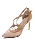ingrosso scarpe di filati-Trapano cristallo trasparente filato rete trasparente Scarpe col tacco alto un cinturino Tacco alto tacco alto scarpe Scarpe da sposa donna