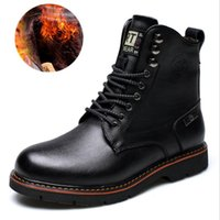Wholesale American Leather Boots - 2017 Men Cowhide Leisure Martin Boots Business Low Ankle Boots Solid Winter High Quality Work Leather Boots European American men's shoes