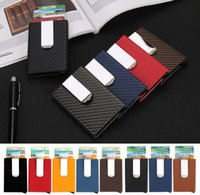 Wholesale aluminum credit card wallets - High Quality Men Wallets Credit card holder Automatic card sets business aluminum wallet card sets cash metal clip holder