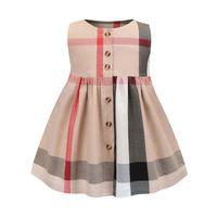girls dress оптовых-плед платье в наличии горячий продавать 2018 новое прибытие летние девушки рукавов плед платье высокое качество хлопка девушки платье бесплатная доставка