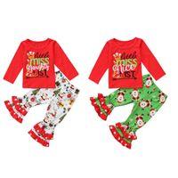 yılbaşı ruffle pants set toptan satış-Noel Bebek kıyafetler çocuk kız mektubu baskı üst + Noel Baba Fırfır Flare pantolon 2 adet / takım 2018 Sonbahar moda çocuk Giyim Setleri C5299