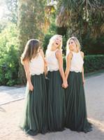 vestidos verdes del bosque al por mayor-2019 Vestidos de dama de honor de tul verde bosque modesto Dos piezas de encaje de marfil Top A Line Dama de honor Boda vestido de invitado Vestidos para ocasiones formales
