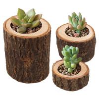 vintage pflanzer großhandel-Rustikale Vintage Holz Pflanztöpfe kleine Runde Holz Pflanzer Kerzenhalter Blume Sukkulenten Topf Töpfe neues Zuhause dekorativ