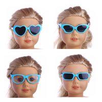schmetterling geformte brille großhandel-Blaue Sonnenbrille Heart Square Butterfly Shape für 18 Zoll American Girl Doll Accessories Kunststoffgläser