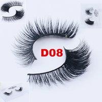 ingrosso ciglia finte al dettaglio-New 3D Mink Lashes 100% Real Mink Hair Ciglia finte Natural Long Thick Crossing Eye Lashes Extension Ciglia finte con scatola al minuto - D08