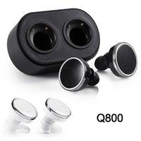 auriculares mini inalámbrico móvil al por mayor-Q800 Bluetooth 4.1 Auriculares gemelos Auriculares estéreo inalámbricos verdaderos Auriculares mini en la oreja Izquierda Derecha Canal Doble Auriculares para teléfono móvil