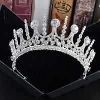 pedrería corona de hierro al por mayor-La novia se casa con una corona de hierro adornos de cabeza de diamante de imitación corona sombreros temperamento del banquete de boda vestido de novia accesorios