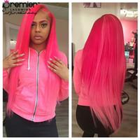peluca llena de encaje verde al por mayor-Prmier Wigs 8A Full Lace Human Wigs Sedoso Recto 100% Brasileño Virgin Hair Pink Rojo Purple Green Blue 10Colors Lace Wigs