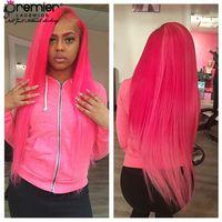 Wholesale full wigs blue resale online - Prmier Wigs A Full Lace Human Wigs Silky Straight Brazilian Virgin Hair Pink Red Purple Green Blue Colors Lace Wigs