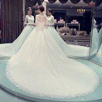çin mütevazi elbisesi toptan satış-2018 Prenses Modest Gelinlik Çin'de Yapılan Sheer Boyun Dantel Aplikler Illusion Uzun Kollu Geri Gelin Kıyafeti Chaple Tren See Through