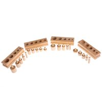 Wholesale Montessori Educational - Montessori Educational Wooden Toys For Children Cylinder Socket Blocks Toy Baby Development Practice and Senses 4pc 1 set-P101