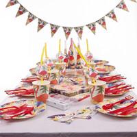 banner de tarjetas al por mayor-Flamingo Party Invitation Cards Platos de papel Cups Banner Baby Shower Fiesta de cumpleaños Decoración Kids Party Supplies