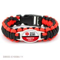 bracelets d'amitié pour femmes achat en gros de-1pcs / Lot Diabétique Alerte Médicale Paracord Survie Cadeaux Pour Diabétique Type 1 2 Amitié Femmes Filles Dames Bracelets