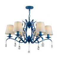 lámpara de comedor azul al por mayor-OOVOV Blue Iron Crystal Chandelier, D70cm, E27, Estilo Mediterráneo, Sala de estar Dormitorio Comedor Lámparas colgantes