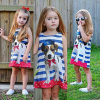 491568156a40 lolita outfits Canada - Summer Baby Girl Puppy Sleevless Dress Toddler Cute  Children Clothing Vestidos Striped