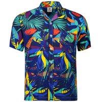 одежда гавайи оптовых-Hawaiian 2017 Summer  New Men Short Sleeve Casual Shirt Men's Beach Hawaii Shirts Men Floral Clothes Asia Size S-5XL
