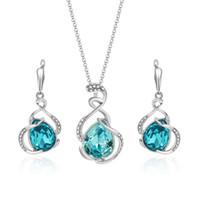 серебряные серьги синие камни оптовых-Синий Кристалл Камень серебряный комплект ювелирных изделий кулон ожерелье серьги для женщин ювелирные изделия