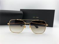 semelles brunes achat en gros de-Lunettes de soleil pilotes carrés Or brun dégradé lentille Sonnenbrille occhiali da sole Lunettes de soleil de luxe Designer lunettes lunettes de soleil New avec étui