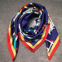 Wholesale Horse Silk - New brand design women's square scarves 100% silk material print horse tresors retrouves fashion scarf size 90cm *90cm