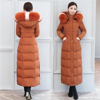 ingrosso grande cappotto invernale del collare-Piumino Duck Down Coat Winter Parka Donna Lungo Tops Real Big collo di pelliccia Warm Soprabito Slim Fit Capispalla 2018 New Fashion