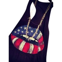 frauen-amerikanisches flaggen-trägershirt großhandel-American Flag Lips Print Racerback Tank Top Weste Frauen ärmelloses Cami Shirt