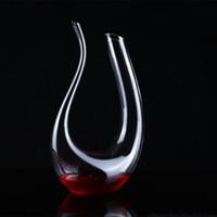 ingrosso bicchieri di acqua soffiata a mano-Bottiglia d'acqua senza piombo Vetro rosso Vino Pourer Decanter Brandy Decant Set U Tipo fatto a mano Blown Bere Glasses Transparent 28my I