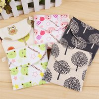 pacote de guardanapos venda por atacado-New lovely and fresh sanitary napkin storage bag cartoon sanitary towel package small napkin bag T3I0003