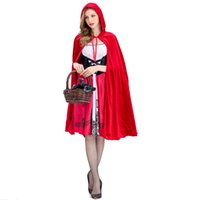 Wholesale red riding hood woman costume online - Little Red Riding Hood Costume for Women Fancy Adult Halloween Cosplay Dress Cloak Fashion Halloween Party Outfit New S XL