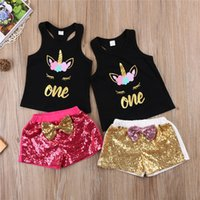 Wholesale Wholesale Toddler Girl Tank - Girls Clothing 2018 Fashion Children Clothing Summer Toddler Kids Girl Sleeveless Unicorn Tank Tops + Sequins Shorts Baby Girls Clothes Set