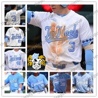 ingrosso luce michael-North Carolina Tar Heels # 3 Kyle Datres 10 Zack Gahagan 15 Michael Busch 2018 White Light blu cucita maglie da baseball NCAA College