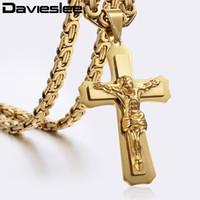 Wholesale jesus pendants for men resale online - Layers Jesus Christ Cross Pendant Necklace For Men Silver Gold Stainless Steel Byzantine Mens Pendant Cross Necklaces LKP483