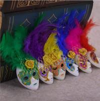feder wohnzimmer dekor großhandel-Exquisite Italien Souvenirs Mini Venedig Feder Maske Kühlschrankmagnet Für Zuhause Wohnzimmer Dekor Ornament Bunte 1 8zk BB
