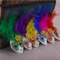 decoração da sala de estar da pena venda por atacado-Requintado Itália Lembranças Mini Veneza Máscara De Pena Imã de geladeira Para Casa Sala de estar Decoração Ornamento Colorido 1 8zk BB