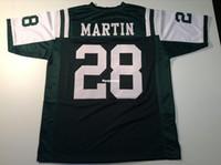 trajes de homem verde venda por atacado-Costume retro Costurado Costurado # 28 Curtis Martin Verde MITCHELL NESS Jersey Camisas de Futebol dos homens High-end