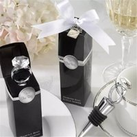 Wholesale ring wine stopper - Wedding Favors Gifts Crystal Diamond Ring Wine Bottle Stopper For Birthday Bridal Baby Shower Wedding Party cc87-94 2018052716
