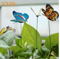 estacas de patio al por mayor-15 UNIDS Mariposa Arte 3D Insecto Hermoso Adorno de Simulación Realista Estatuas de Mariposas Creativas Patio Jardín Jardín Decoración