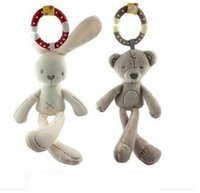 Wholesale baby day beds online - Soft Plush Rabbit Bear Toy Baby Kid Infanette Mobile Bed Hanging Windbell Doll Children Favor PP Cotton Stuffed Birthday Gift fs YY