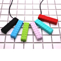 Silicone Brick Chew Teether Soft Teething Brick Pendant Necklace Baby Chewing Biting Soothers Chewlery Toys Toddlers Gifts