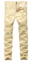 ingrosso disegni biker-All'ingrosso-Top qualità Khaki Biker Jeans Design pieghettato Mens Skinny slim Stretch Denim pants 2016 Nuovo arrivo Hip-Hop Street Strappato Jeans