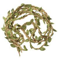 искусственная намотка оптовых-2M DIY Artificial Leaves Twine Wax String With Leaf Silk Leaves Flowers Garlands Rope Wedding Party Decoration