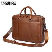 15 zoll laptop tasche großhandel-Laptop Schultertasche 15 Zoll echtes Leder Männer Business Aktentasche Tasche Laptop Messenger doppelte Reißverschlüsse Raum Leder Handtasche