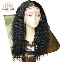 Wholesale Honrin Hair Deep Curly x6 Deep Part Lace Front Wig Pre Plucked Hairline Brazilian Virgin Human Hair Wig Curly Density Bleached Knots