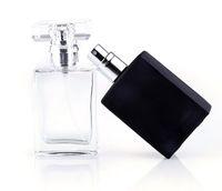 tapa de aerosol de metal al por mayor-Venta caliente 30 ml Claro Negro Portátil Botellas de Spray de Perfume de Cristal Envases Cosméticos Vacíos Con Atomizador Para Viajero