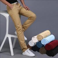 leinwand dünn großhandel-Beiläufige Hosen der neuen Segeltuchmänner nehmen gerade die Menshosen-Mannhose-Mehrfarbenlanges Kleid ab, die Jogginghose keucht