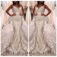 Wholesale hand beaded wedding gown resale online - Luxurious Sweetheart Mermaid Detachable Train Wedding Dresses Beaded Bridal Gowns With D Floral Adorned Custom Garden Middle East