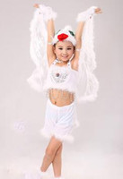 Wholesale boys diving - 2018 New style children Cosplay Small Dove Animal perform Sequins clothing Boys and girls Dance Conjoined clothes