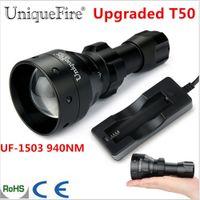 обновление объектива оптовых-UniqueFire 1503 Upgraded T50 Zoomable LED  Torche Osram IR 940nm 50mm Convex Lens 3 Mode Lamp Waterproof For Hunting