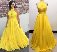 Amarillo Tallas Grandes De Gasa Vestidos Largos De Noche Halter Plisado Piso Fluido Longitud Vestidos De Noche Sin Espalda Vestidos Formales