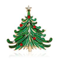 incrustación de árboles al por mayor-broche de árbol de navidad para la decoración de bufandas con incrustaciones de diamantes de imitación ornamentos de navidad de invierno la moda popular en bromista