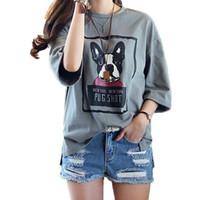 Wholesale korean loose cap online - Plus Size Basic T Shirt Summer Korean Style Women Tee Casual Loose Short Sleeve Letter Dog Print Dark Gray Slit Top Female xl xl